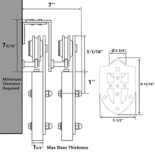 Vancleef 12FT Bypass Door Kit Sliding Barn Door Hardware, Shield Design, New Style U-Bracket, Black Rustic, Interior and Exterior, with Quiet Glide Roller and Descriptive Installation Manual
