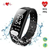 Fitness Tracker, ECG+PPG Activity Tracker Watch with Heart Rate Monitor,Sleep Monitor ,Blood Pressure Monitor,IP67 Waterproof,Pedometer Smart Watch for Women Men, Android iOS