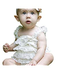 Infant Baby Girls Summer Ruffle Bowknot Rompers One-Piece lace Jumpsuit Clothes(LBM)