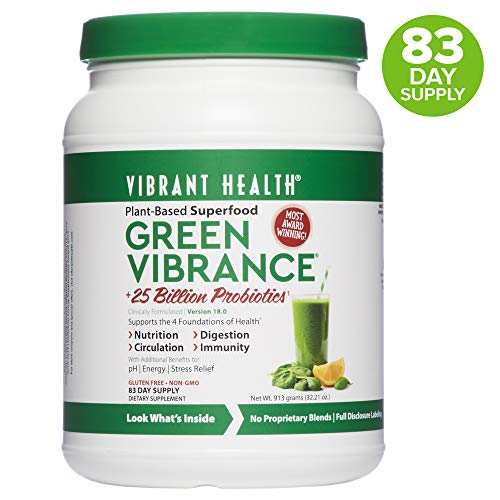 - Vibrant Health, Green Vibrance, Plant-Based Superfood Powder, 25 Billion Probiotics Per Scoop, Vegetarian and Gluten Free, 83 Servings