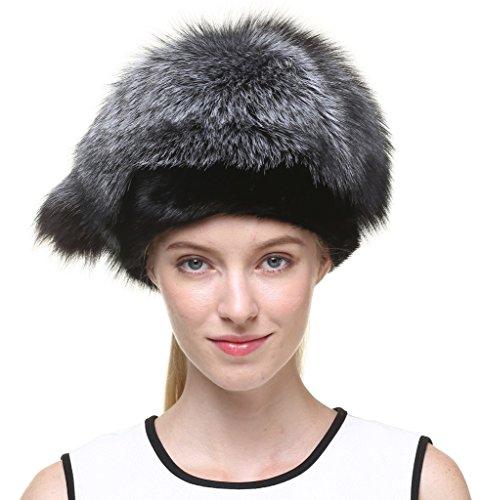 Vogueearth Women'Real Silver Fox Mink Fur Winter Warmer Hat Black by vogueearth
