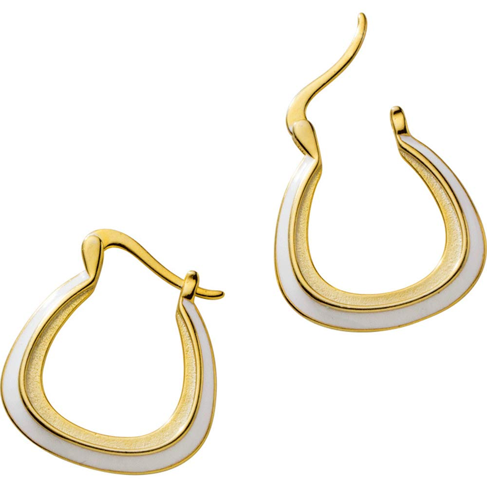 bc082f9caca6e Fashion Earrings Hoops, Mariafashion Sterling Silver Gold Hoop Earrings  Click-top U Shape Two-Tone Oval Huggies Hoop Earrings for Women Girls ...