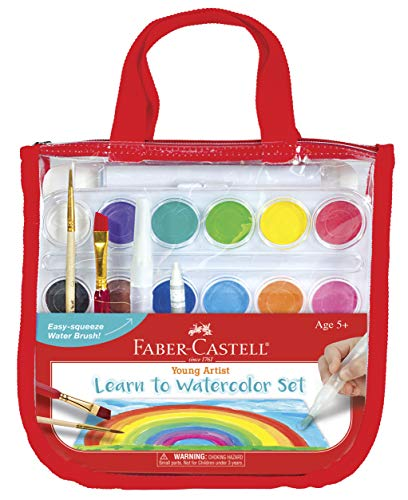 Faber-Castell Learn to Watercolor Set - Complete Watercolor Paint and Paper Beginner Set - Washable Paint Set for Kids