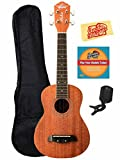 Oscar Schmidt OU2E Mahogany Concert Acoustic-Electric Ukulele Bundle with Gig Bag, Austin Bazaar Instructional DVD, Clip-On Tuner, and Polishing Cloth