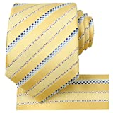 KissTies Yellow Summer Tie Set Striped Satin Necktie + Pocket Square + Gift Box