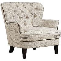 Pulaski Paris Script Button Tufted Accent Arm Chair, 34 x 35 x 34, Beige