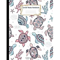 Cornell Notes Notebook: College Ruled Medium Lined Journal: Cute Sea Turtles Cornell Note Paper Workbook for School…