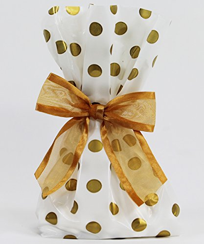 Elegant Gold Dot Cellophane Treat/Party Favor Bags with Twist-Tie Organza Bow. Set of 10 11x5x3 Goodie Bags with Bows for Weddings & Celebrations. White, (Halloween Treats Homemade)