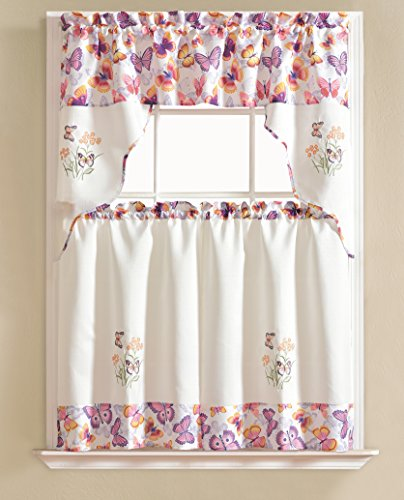 RT Designers Collection Urban Embroidered Tier and Valance Kitchen Curtain Set, Butterfly
