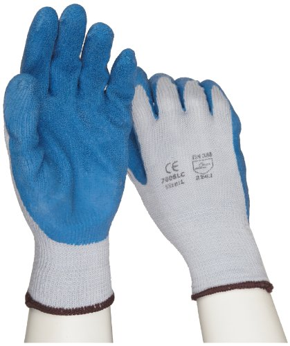 (West Chester 700SLC Cotton Polyester Glove, Latex Palm Coating, Rib Knit Wrist Cuff, 9.5