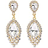 BriLove Women's Wedding Bridal Dangle Earrings with Crystal Teardrop Cluster Beads Chandelier Gold-Toned Clear