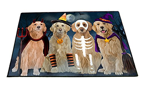 Happy Halloween Trick or Treat Golden Retrievers Dog in Costumes Indoor/Outdoor Floormat (24x36) -