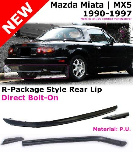1991 1992 1993 1994 1995 1996 Rear Bumper Lip Compatible With 1990-1997 Mazda Miata RS Style PU Black Rear Lip Spoiler Splitter by IKON MOTORSPORTS