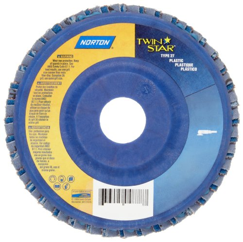 Norton Twinstar Abrasive Flap Disc, Type 27, Round Hole, Plastic Backing, Ceramic/Zirconia Alumina, 4'' Dia., 60 Grit (Pack of 100) by Norton Abrasives - St. Gobain