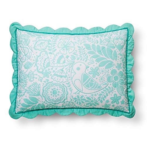 Birds Scalloped Edge Sham - Standard - Mint - Pillowfort ()