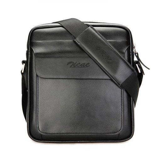 Zicac Men's Genuine Leather Shoulder Bag Crossbody Purse Messenger Bag (Black) by Zicac