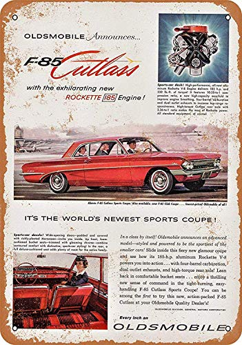 Fieanxi 8 x 12 Metal Sign - Oldsmobile F-85 Cutlass Pub Home Decor Metal Tin Sign
