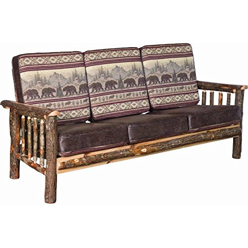 Amazon.com: Rustic Hickory Log Faux Leather Sofa - Golden ...