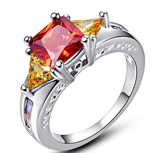 Narica Women's Elegant 7mmx7mm Princess Cut Garnet CZ Engagement Ring ()