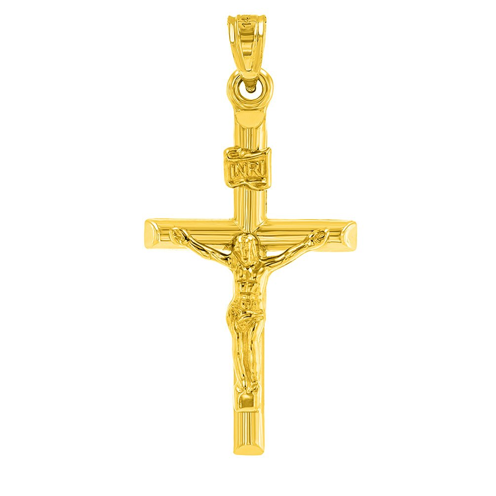 14K Yellow Gold Simple Cross INRI Crucifx Charm Pendant with Cuban Chain Necklace
