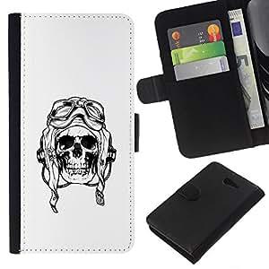 KLONGSHOP // Tirón de la caja Cartera de cuero con ranuras para tarjetas - Piloto de Guerra Muerte Cráneo Negro Blanco - Sony Xperia M2 //