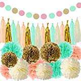 Newtall Party Decorations Tissue Pom Poms Paper Flowers Tissue Tassel Paper Garland Wedding Birthday Graduation Baby Shower Party Decorations (35 Pcs)