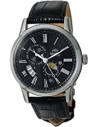 Men's 'Sun and Moon Version 3' Japanese Automatic Stainless Steel and Leather Casual Watch, Color:Black (Model: FAK00004B0)