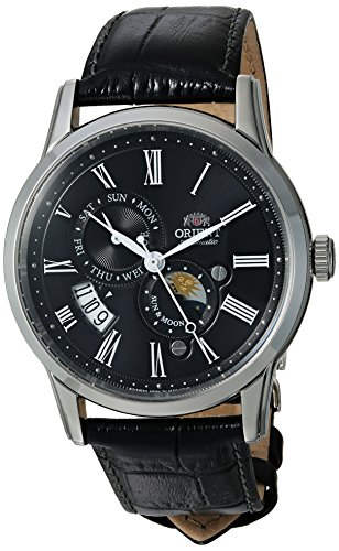 Orient Men's Sun and Moon Version 3 Stainless Steel Japanese-Automatic Watch with Leather Calfskin Strap, Black, 21 (Model: ()