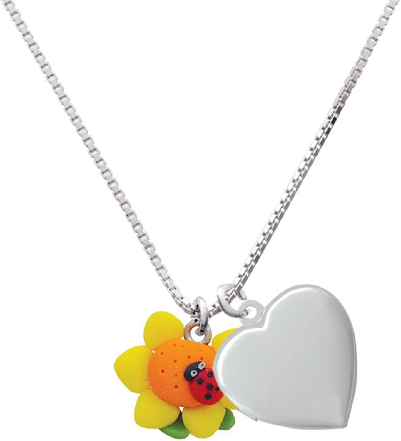 Delight Jewelry Fimo Clay Sunflower with Ladybug Heart Locket Necklace 18+2