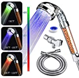 PRUGNA LED Shower Head with Hose and Wall Arm Mount, High-Pressure Ionic Filter Handheld Shower for Repair Dry Skin and Hair Loss - Color Changes with Water Temperature