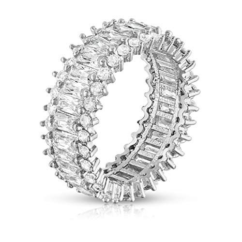 Verona Jewelers Womens White Gold Plated Lustrous Eternity Band- Rotating with Beautiful Lustrous Cubic Zirconia (7)