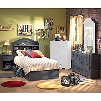 South Shore Summer Breeze Antique Blue Kids Twin Wood Captainu0027s Bed 4 Piece  Bedroom Set