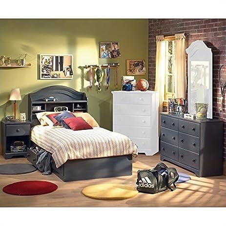 Beautiful South Shore Summer Breeze Antique Blue Kids Twin Wood Captainu0027s Bed 4 Piece Bedroom  Set