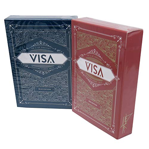Visa Playing Cards Poker Size Deck USPCC Custom Limited Edition (Blue / Red - 2 Deck Set)