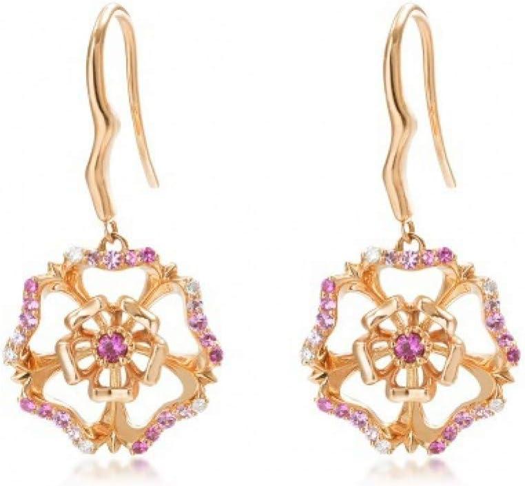 SSDAOLAO Pendientes Pendientes De Oro Rosa para Mujer con Piedras Preciosas Rosadas