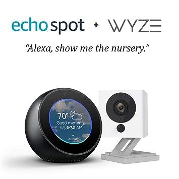 Echo Spot bundle with Wyze Cam 1080p HD Smart Camera - Black