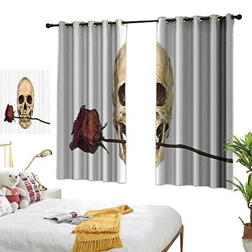 Warm Family Thermal Insulated Drapes for Kitchen/Bedroom Gothic Decor Collection Skull with Dry Red Rose in Teeth Anatomy Death Eye Socket Jawbone Halloween Art Privacy Protection 55