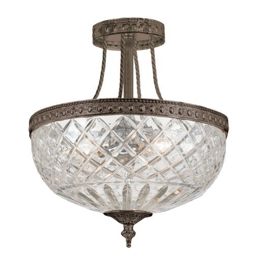 Crystorama Lighting 118-12-EB Richmond 3-Light Semi-Flush with Clear Cut Glass Shade, English Bronze Finish by Crystorama - Richmond Glasses