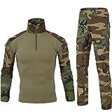 SANKE Men's Combat Long Sleeve Tracksuit Tactical Camo Woodland Cargo Set