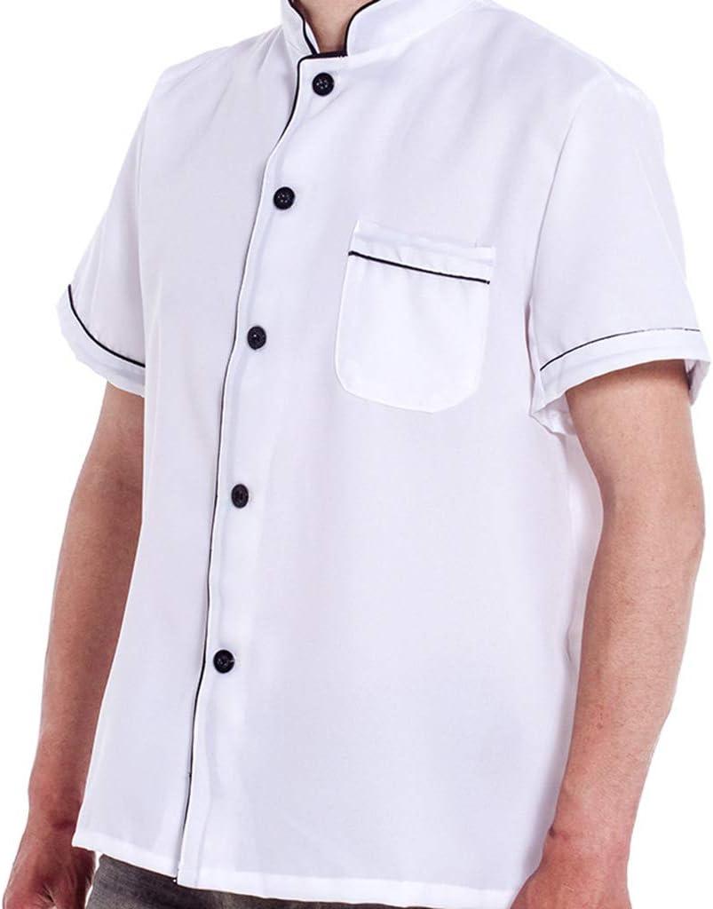 Gwxevce Work Coat Bianco Manica Corta Abbottonato Abbottonato Unisex Unisex Bianco 2XL
