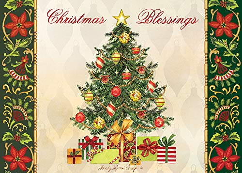 """Search : African American Expressions - Christmas Blessings/Christmas Tree with Presents Boxed Christmas Cards (15 cards, 5"""" x 7"""") C-927"""
