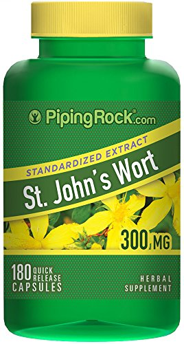 Piping Rock St. John's Wort Standardized Extract 300 mg 0.3% Hypericin 180 Quick Release Capsules Herbal Supplement
