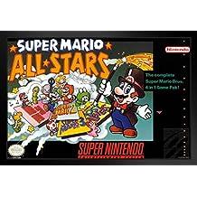 ProFrames Super Mario All Stars Super Nintendo NES Game Series Box Art Yoshi Luigi Princess Framed Poster 12x18