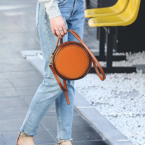 Cowhide Crossbody Ring Purse Black For rivets Women Yoome Punk Rivet Elegant Real Handle Circular Bags Bag Handbags xwBxTvPq