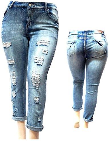 V-OK WOMENS PLUS SIZE BLUE Boyfriend Denim Jeans Ripped Distressed strech pants (14A)