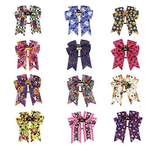 12Pcs Halloween Hair Bows for Girls, Boutique Halloween Ribbon Hair Bow Headband with Ghost Pumpkin Hair Bow Halloween Hair Accessories for Children Party -