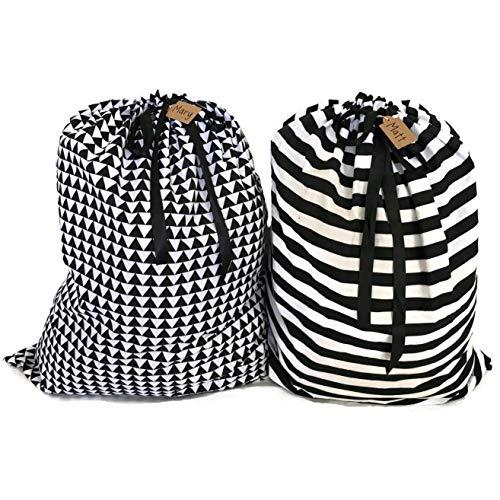 Appleby Lane Reusable Fabric Gift Bags (XXL Santa Sack Set, Plaids & Stripes) Set of 2 Bags, 40x32 ()