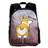 Kids Backpack Corgi Butt Boys School Bag