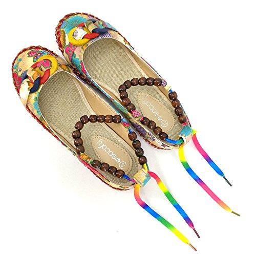 Minetom Mujer Primavera Verano Casual Nacional Del Viento Mocasines Moda Multicolores Zapatos Redondos Planos Multicolor