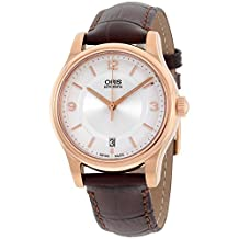 Oris Classic Date Silver Dial Brown Leather Strap Men'S Watch 73375784831Ls